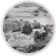 View From Rock Of Dunamase Round Beach Towel