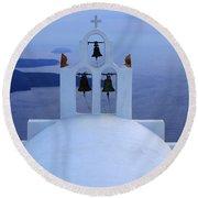 Beauty Of Santorini Greece Round Beach Towel