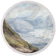View From Skiddaw Over Derwentwater  Round Beach Towel