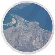 View From Space Of San Diego Round Beach Towel