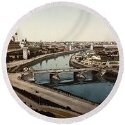 view from St Saviours - Moscow - Russia Round Beach Towel