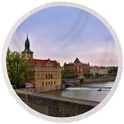 View From The Charles Bridge Revisited Round Beach Towel