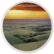 View From The Cypress Hills Round Beach Towel