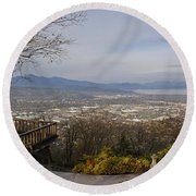 View From The Home On Top Of The Hill Round Beach Towel