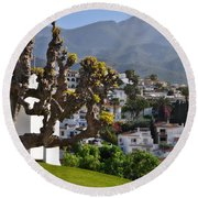 View From The Parador Nerja Round Beach Towel