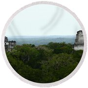 View From The Top Of The World Round Beach Towel