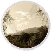 View In The Valley Round Beach Towel