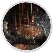 View Inside Kaumana Lava Tube, Hawaii Round Beach Towel