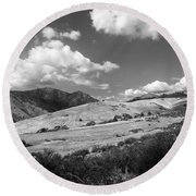 View Into The Mountains Round Beach Towel