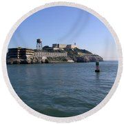 View Of Alcatraz From A Boat That Is Leaving The Island Round Beach Towel