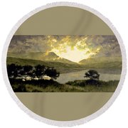 View Of Ben Bulben Round Beach Towel