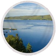 View Of Boulardarie Island From Seal Round Beach Towel