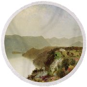 View Of Cozzen's Hotel Near West Point Ny Round Beach Towel