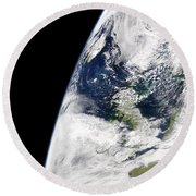 View Of Earth From Space Showing Round Beach Towel by Stocktrek Images