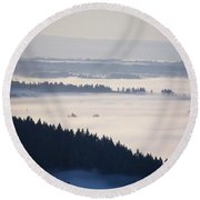View Of Fog-covered Willamette Valley Round Beach Towel