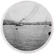 View Of Galata And Istanbul - Between 1880-1893 Round Beach Towel