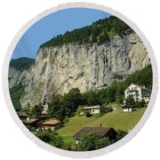 View Of Greenery And Waterfalls On A Swiss Cliff Round Beach Towel