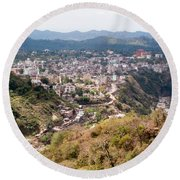 View Of Katra Township While On The Pilgrimage To The Vaishno Devi Shrine In Kashmir In India Round Beach Towel