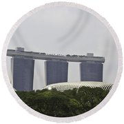 View Of Marina Bay Sands And Esplanade Building In Singapore Round Beach Towel