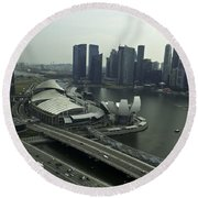 View Of Marina Bay Sands And Other Buildings From The Singapore  Round Beach Towel