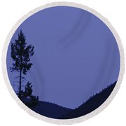 View Of Moon And Mountains, Gaspesie Round Beach Towel