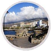 View Of Puerto De La Cruz From Plaza De Europa Round Beach Towel