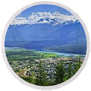 View Of Revelstoke In British Columbia Round Beach Towel