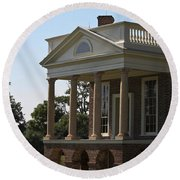 View Of South Portico At Poplar Forest Round Beach Towel