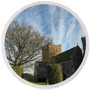 View Of St Mary Church And Clouds In Dover Castle Round Beach Towel