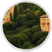 View Of The Alhambra In Spain Round Beach Towel