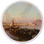 View Of The Bay Of Naples Round Beach Towel