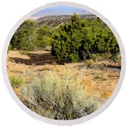 View Of The Desert New Mexico Round Beach Towel