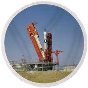 View Of The Gemini-titan 4 Spacecraft Round Beach Towel