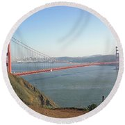 View Of The Golden Gate Bridge And San Francisco From A Distance Round Beach Towel