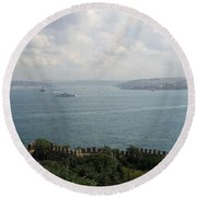 View Of The Marmara Sea - Istanbul Round Beach Towel