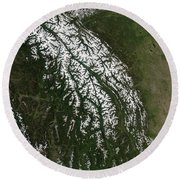 View Of The Rocky Mountains Round Beach Towel by Stocktrek Images