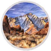 View Of The Sierras Round Beach Towel