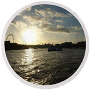 View Of The Thames At Sunset With London Eye In The Background Round Beach Towel