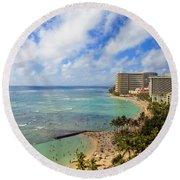 View Of Waikiki And Beach Round Beach Towel
