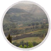 View Over The Tuscan Hills From San Gimignano Italy Round Beach Towel