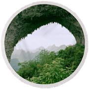 View Through Moon Hill In Guangxi In China Round Beach Towel