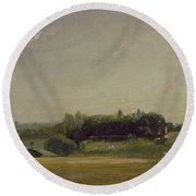 View Towards The Rectory - East Bergholt Round Beach Towel