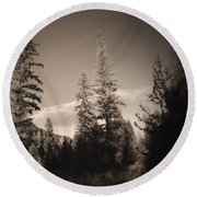Vignette In Sepia  Round Beach Towel