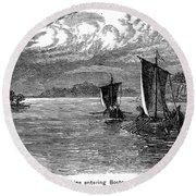 Vikings: North America Round Beach Towel