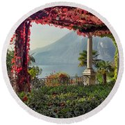 Villa Cipressi Pergola On Lake Como I Round Beach Towel