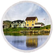 Village In Newfoundland Round Beach Towel