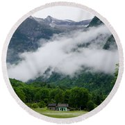 Village In The Alps Round Beach Towel