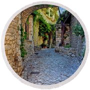 Village Lane Provence France Round Beach Towel