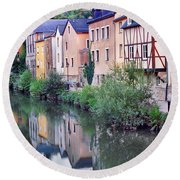 Village Reflections In Luxembourg I Round Beach Towel by Greg Matchick