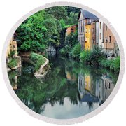 Village Reflections In Luxembourg II Round Beach Towel